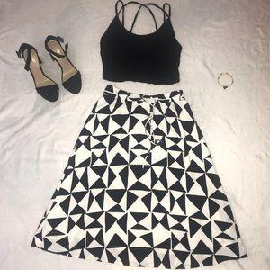Black and white geometric midi skirt